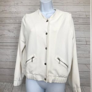Travelers By Chicos Sz 2 Off White Textured Jacket